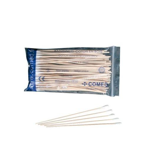 Comed 2510800 Wattestäbchen aus Holz 100 im Beutel
